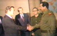 Shaking Hands: Iraqi President Saddam Hussein greets Donald Rumsfeld, then special envoy of President Ronald Reagan, in Baghdad on December 20, 1983.